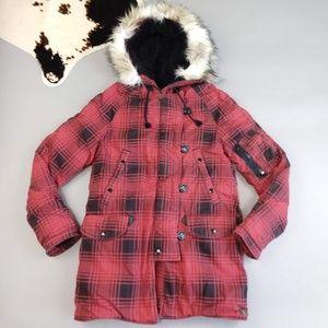 RL Denim & Supply Buffalo Plaid Red Parka Jacket
